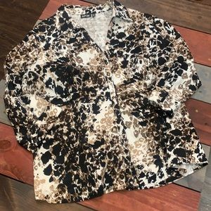 3 FOR $20 Apt. 9 Black & Brown Button Down Top 2X